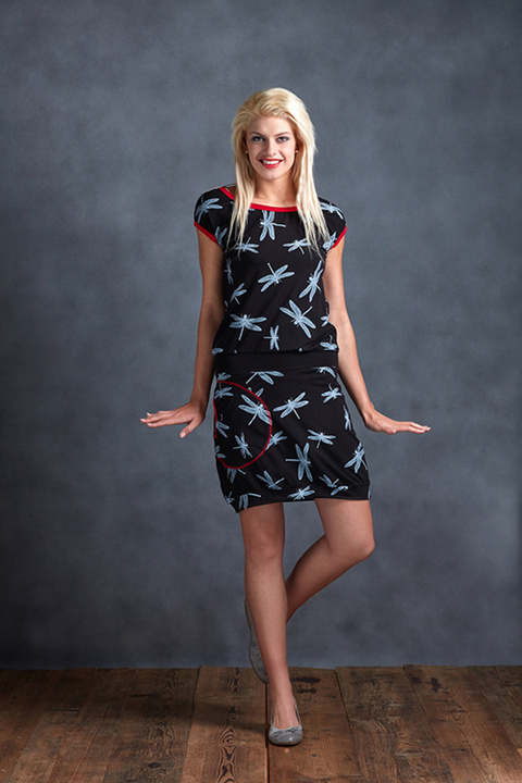 Dress Black Dragonfly and Red