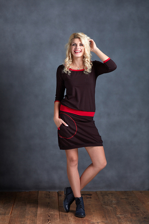 Dress Sleeve Black/Red Dots and Red