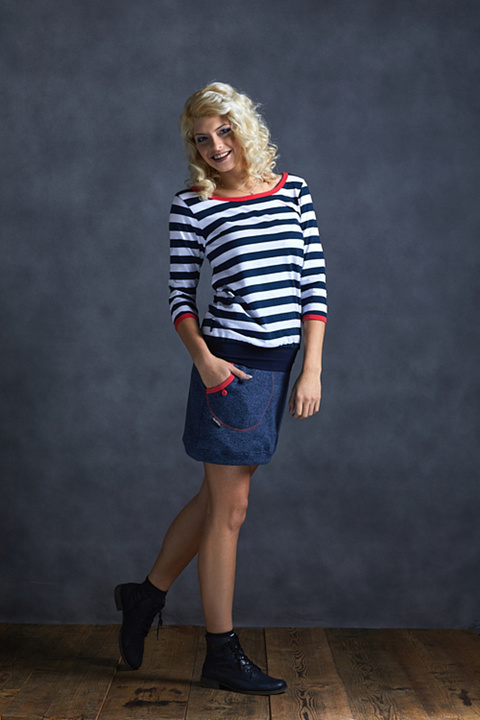 T-shirt 3/4 Sleeve Blue/White Stripes and Salmon