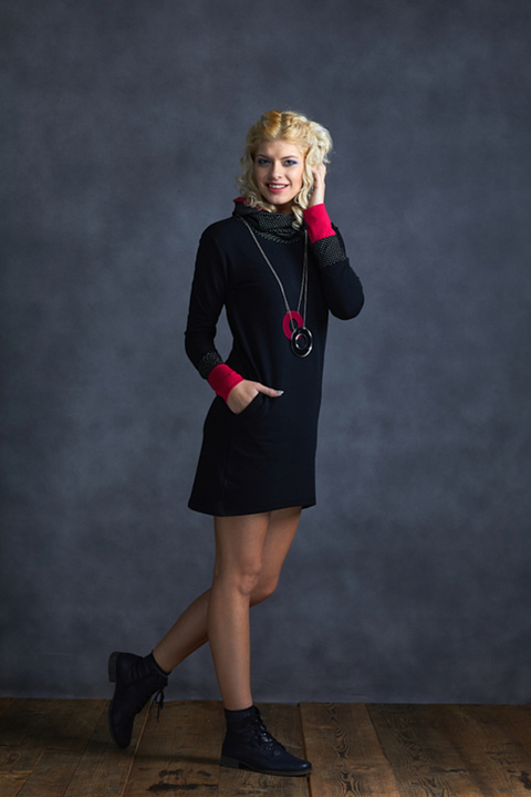 Tunic Black and Dots/ Pink