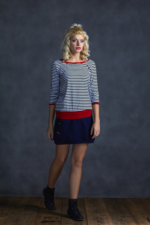 T-shirt 3/4 Sleeve Blue/White Stripes and Red