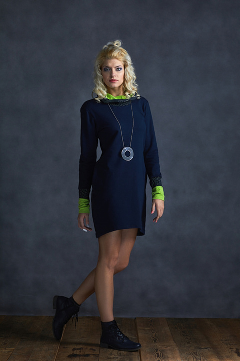 Hoodie Long Blue and Blue Dots/Limet