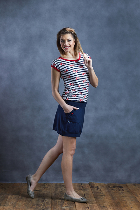 Carri Blue/White Stripes and Red Bow