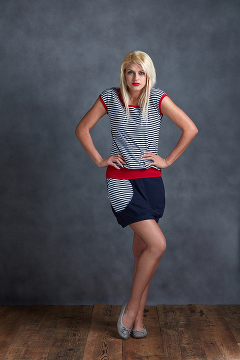 T-shirt Carri Blue/White Sailor Stripes and Red