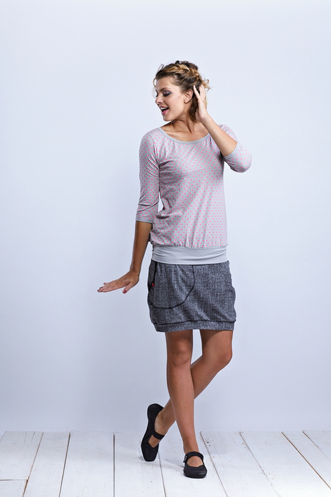 Tucked Sleeve Silver Gray/Pink Dots