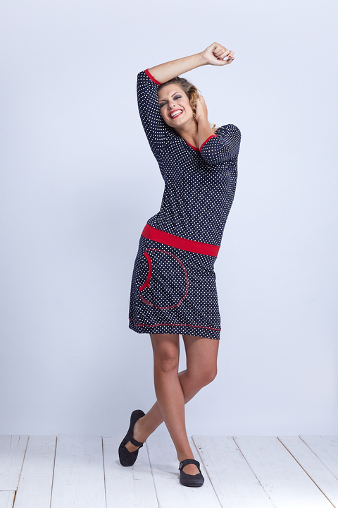Dress Sleeve Blue/White Dots and Red