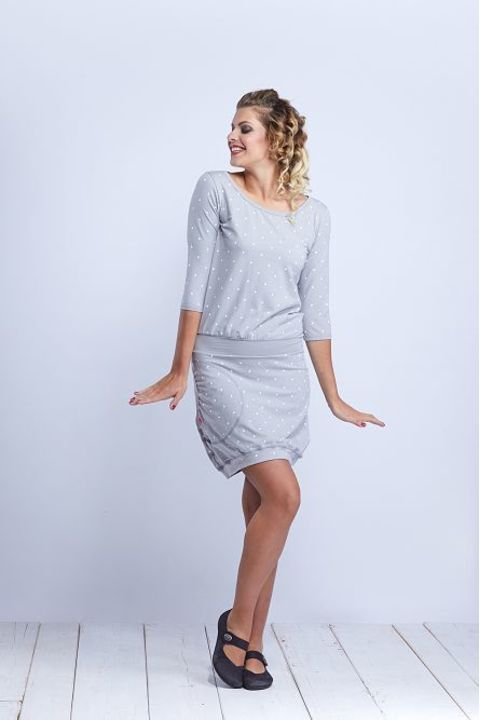 Dress Sleeve Silvery Gray/White Dots