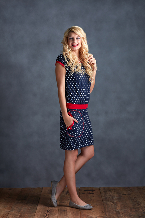 Dress Blue/White Dots and Red