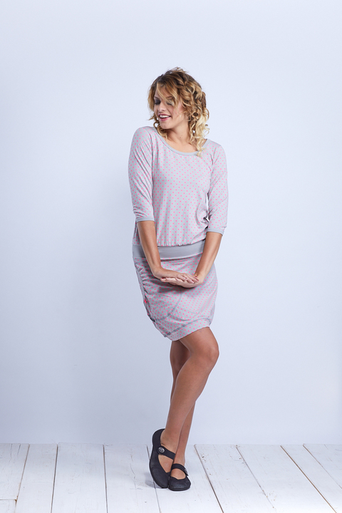 Dress Sleeve Silvery Gray/Pink Dots