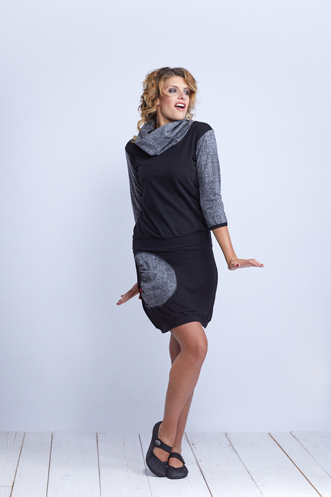 Dress Carrie Collar Black and Gray/Black Structure