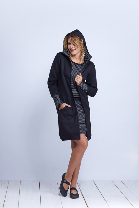Coat Softshell Black and Black/White Stripes