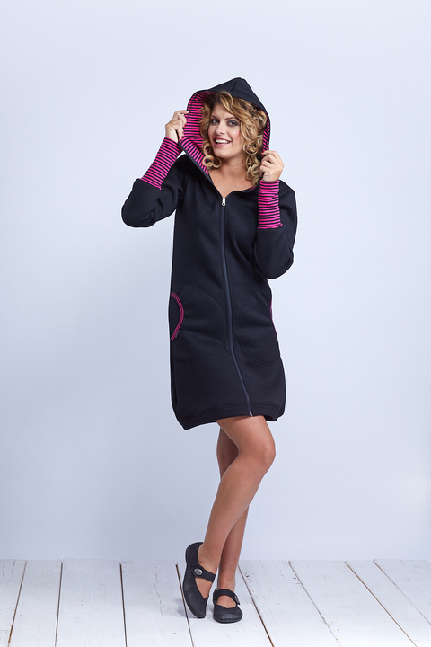 Coat Softshell Black and Pink Stripes