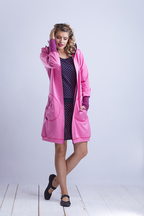 Coat Softshell Pink and Pink Stripes