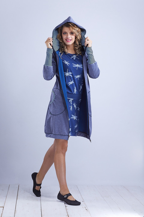 Coat Softshell Blue and Blue Stripes-Sleva