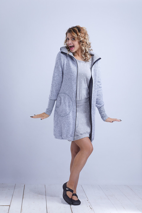 Coat Dove Grey and Stripes