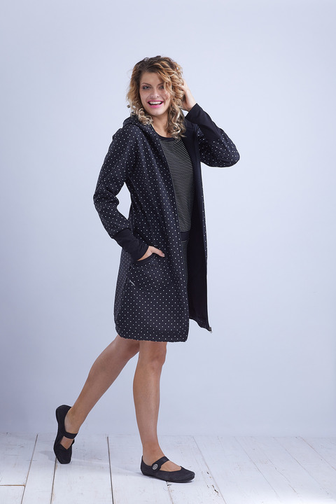 Coat Softshell Black/White Dots-SLEVA
