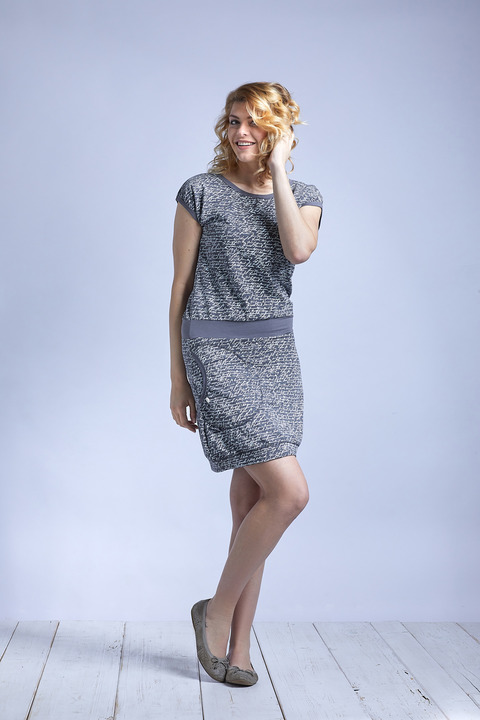 Dress Gray Melange/White Letters