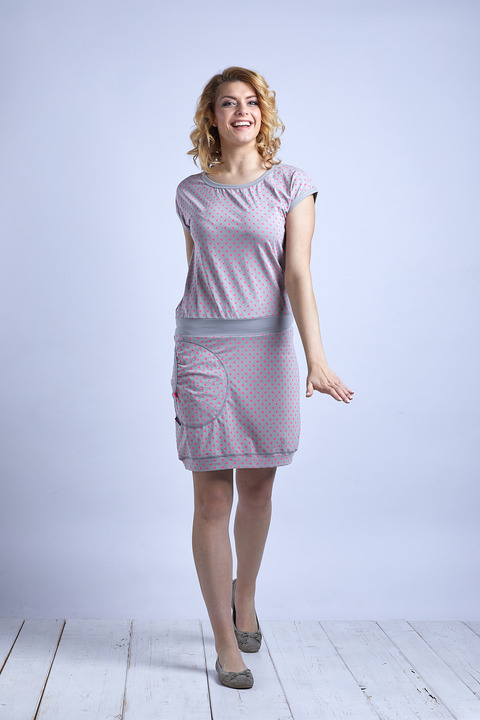 Dress Silver Gray/Pink Dots