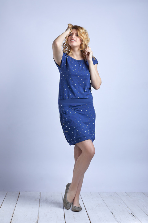 Dress Sapphire Blue/White Big Dots