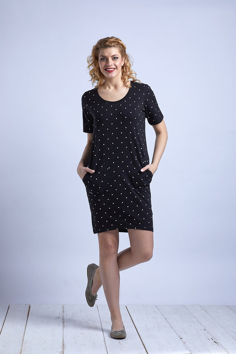 Dress Ibiza Black/White Big Dots
