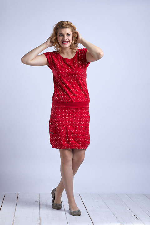 Dress Red/White Mini Dots