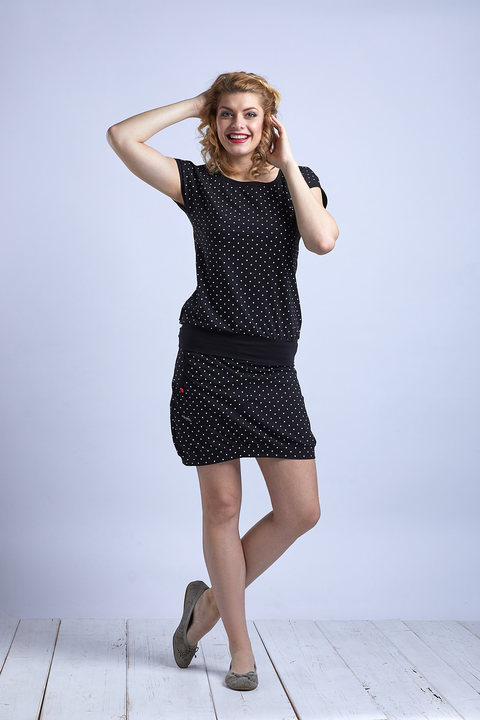 T-shirt Black/White Mini Dots
