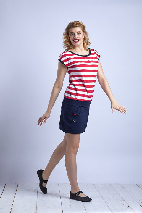 T-shirt Carri Red/White Big Stripes and Blue