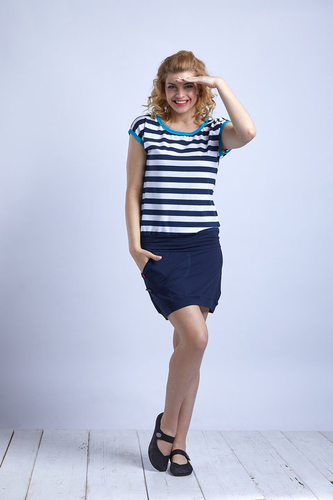 T-shirt Carri Blue/White Big Stripes and Turquoise