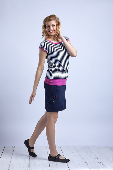 T-shirt Carri Blue/White Sailor Stripes and Pink
