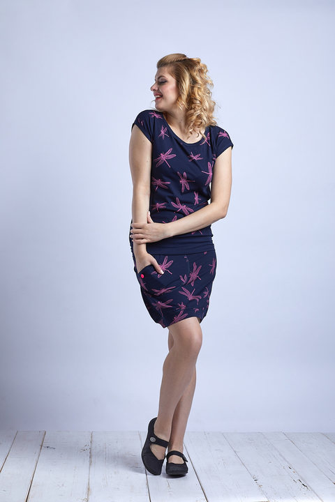 Dress Dark Blue/Pink Dragonfly