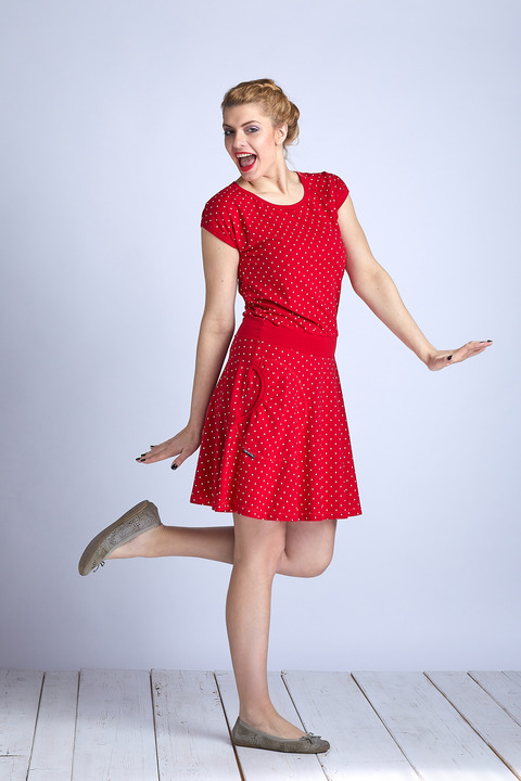 Dress Wheeled Red/White Mini Dots