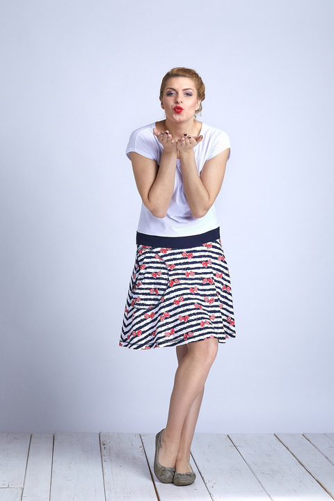Dress Wheeled White and Stripes