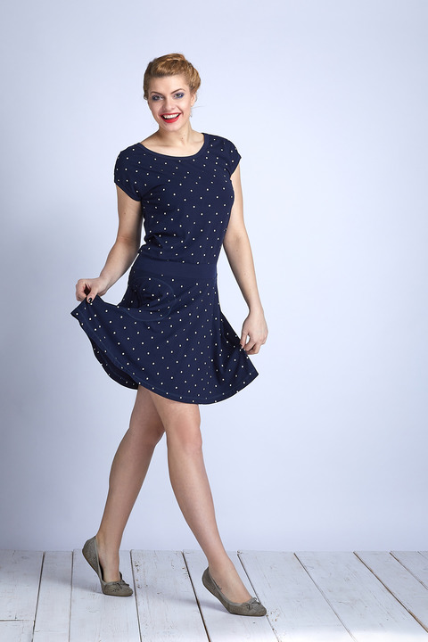 Dress Wheeled Blue/White Big Dots
