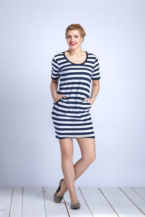 Dress Ibiza Blue/White Big Stripes