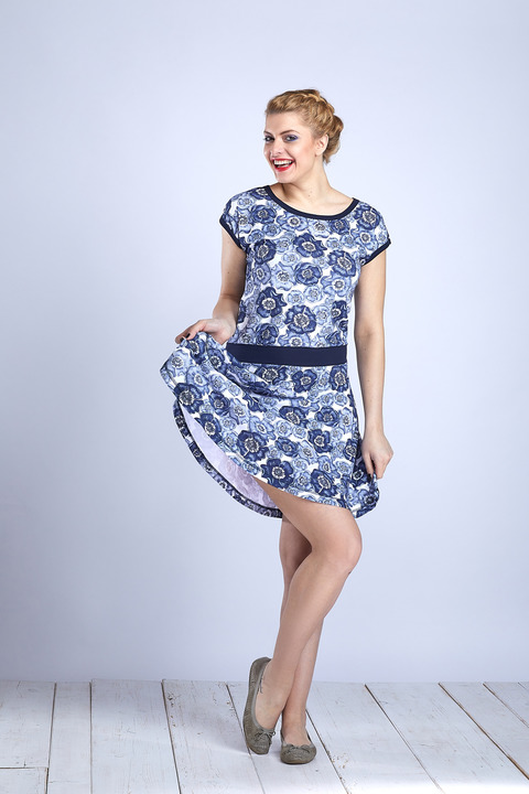 Dress Wheeled Blue Poppies