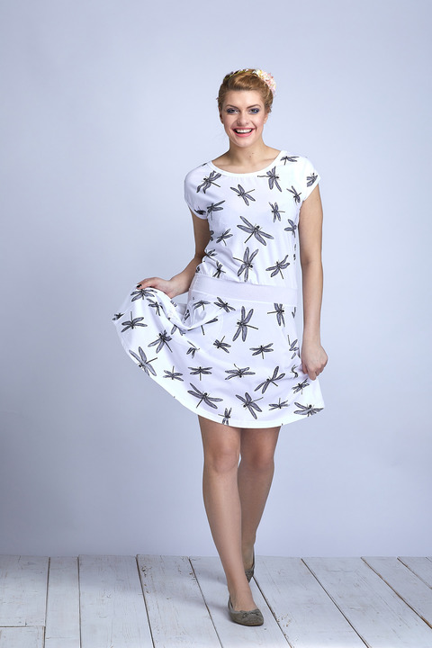 Dress Wheeled White/Black Dragonfly