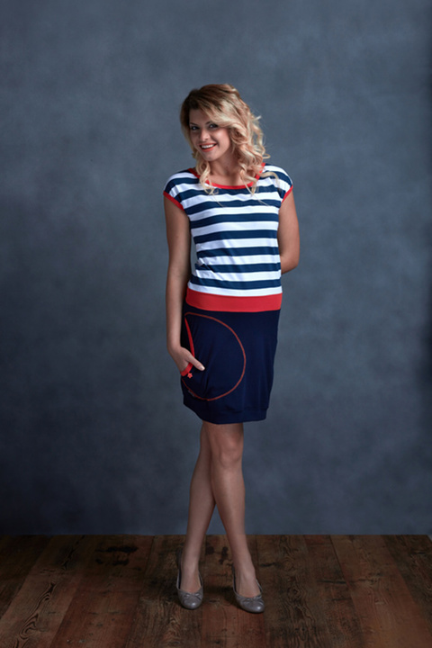 Dress Blue and Blue/White Big Stripes/Salmon
