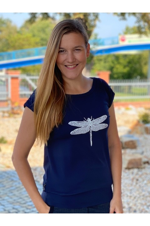 T-shirt Carri Blue and White Dragonfly